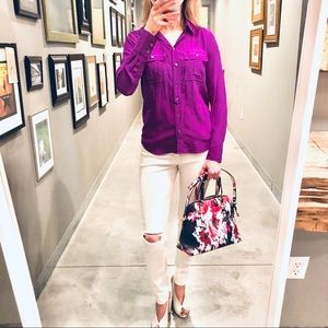 J Crew %100 silk purple top *please read
